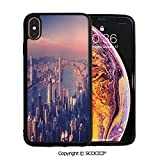 SCOCICI Unique Slim Designs Drop-Protection Smart Cell Phone Case Dreamy View of Chinese City Hong Kong Urban Scene Concept Victoria Harbor Compatible with iPhone Xs Max