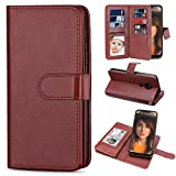 TILL for Moto G7 Power Case, Moto G7 Supra Wallet Case PU Leather Carrying Flip Cover [Cash Credit Card Slots Holder & Kickstand] Detachable Magnetic Folio Slim Protective Hard Case Shell [Brown]