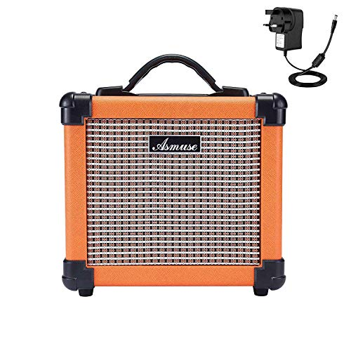 Asmuse Guitar Amplifier Practice 3W Mini Combo Bass Guitar Ampli with Distortion Effect and Headphone Jack - With Aux-in Cord/USB Charging Cable