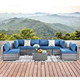 Walsunny 7pcs Patio Outdoor Furniture Sets,Low Back All-Weather Rattan Sectional Sofa with Tea Table&Washable Couch Cushions (Silver Gray Rattan) (Sliver/Aegean Blue)