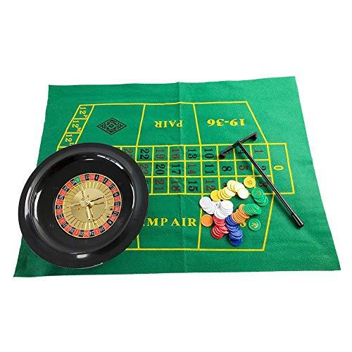 Deluxe Roulette Set mit Zubehör, Roulette Set mit Chips Spieleset Roulette Poker Black Jack Craps hat Chips Mats Dices Cards