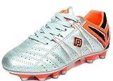 DREAM PAIRS Men's 160471-M Silver Orange Black Cleats Football Soccer Shoes - 8 M US