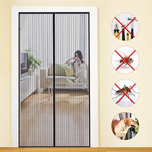 MYCARBON Magnet Fliegengitter Tür Insektenschutz Balkontür Fliegenvorhang 80x200   10 x Stärker als Normales Fliegengitter - ohne Bohren - Vorhang für Balkontür Wohnzimmer Schiebetür Terrassentür