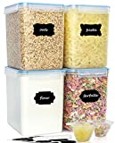 buways Extra Large 5.5 Qt Airtight Food Storage Containers (Set of 4) - BPA-Free Pantry Bulk Kitchen Containers for Flour, Sugar, with 2 Measuring Cups - 24 Labels & Pen