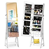 TWING Jewelry Cabinet Armoire Free Standing Jewelry Armoire with Full Mirror, Mirrored Jewelry Cabinet Gorgeous Mounted Jewelry Organizer