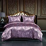 OSVINO Luxury 3 Pieces Jacquard Soft Satin Silky Bedding Down Duvet Cover Pillowcases Set with Zipper Closure, Light Purple, Queen