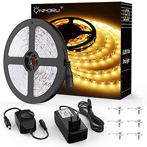 Onforu 10M LED Strip Dimmbar, LED Streifen 600 LEDs Lichtband Stripes 3000K Warmweiß, Selbstklebend 2835 LED Band mit Netzteil, 12V Innenbeleuchtung für Party Küche Weihnachten Haus Deko