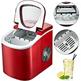 BuoQua 12KG Automatic Ice Maker Stainless Steel 220V Red Ice Cube Maker Machine 26LBS Ice Making Machine Countertop Ice Maker Compact Clear Ice Cubes for Kitchen Home Bars