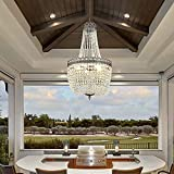 Maxax French Empire Crystal Chandelier, 5 Lights Farmhouse Pendant Lighting, Adjustable Ceiling Light Fixture E12 Base, for Dining Room, Central Hall, Foyer, Antique Bronze