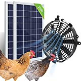 Pumplus Powerful 12in Chicken Coop Cooler Fan, 2pcs 25W Solar Panel & Solar Powered Fan, Ventilates Your House, Shed, Greenhouse, Garage