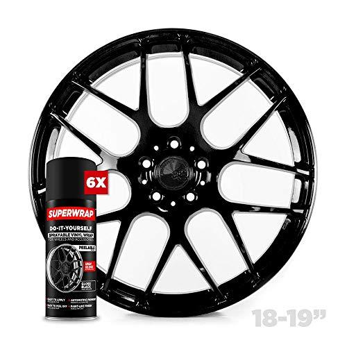 Superwrap Sprayable Vinyl Wrap - High Gloss Finish - Covers 4 Car Wheels Up to 19' or 2 Motorcycle Wheels - Gloss Black - Wheel Kit