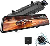 WOLFBOX 2.5K Mirror Dash Cam with GPS, 10' Full Touch Screen Rear View Mirror Camera with Waterproof Backup Camera, Dual Dash Camera Front and Rear for Car, Rearview Car Camera with Night Vision