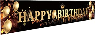 Ushinemi Happy Birthday Banner Party Signs for Birthday Backdrop, Large, Black and Gold