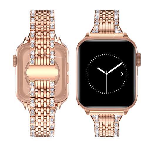 TOWOND Correa Compatible con Apple Watch 6/SE/5/4/3/2/1 Correa 44mm de Acero Inoxidable Reemplazo de Banda Compatible con iWatch Todos los Modelos Dorado, 42/44mm