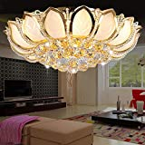 Flush Mount Crystal Chandelier, 23.6 Inches Lotus Remote Control LED Pendant Modern Gold Ceiling Light, Luxury Lighting Fixture for Living Room Bedroom Dining Room Hotel