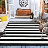 Black and White Striped Outdoor Indoor Rug 47'' x 71'', Collive Farmhouse Cotton Woven Outdoor Rugs Runner, Washable Layered Front Door Mat for Layered Door Mats/Porch/Kitchen/Bathroom/Laundry Room