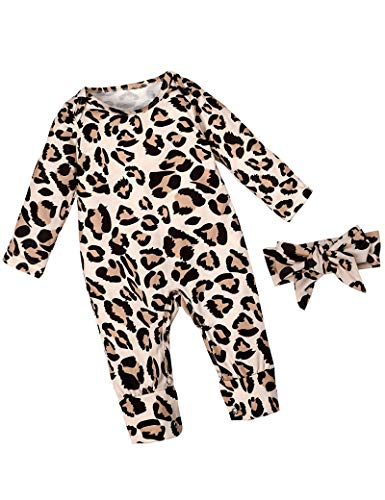 Newborn Baby Girl Clothes Leopard Long Sleeve Footless Romper...