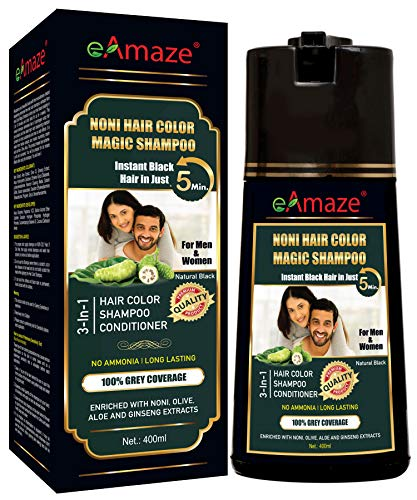 eAmaze Noni Hair Color Shampoo 400 ml (Natural Black) for both Men and Women   Ammonia Free, Paraben Free, Instant Black Hair in Just 5 Minutes