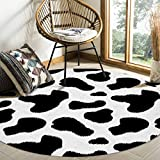 Round Area Rugs Cow Print Black and White Spots Farm Life with Cattle Camouflage Animal Skin Soft Stain-proof Carpet Floor Mat Anti-Skid Runner Rugs for Living Room Bedroom Dining Room, 4 Feet
