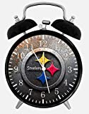 Steelers Twin Bells Alarm Desk Clock 4' Home Office Decor X45 Nice for Gifts