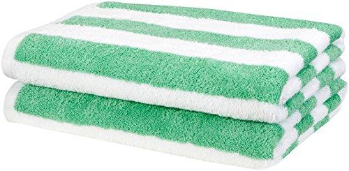 AmazonBasics Cabana Stripe Beach Towel - Pack of 2, Green