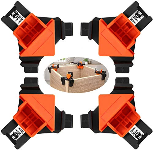 90 Degree Right Angle Clamps, 4 pcs Woodworking Angle Corner Clamps, Adjustable 1/4'-3/4' Thickness, Right Angle Clip Fixer for Carpenter, Welding, Drilling, Making Cabinets, installing frames