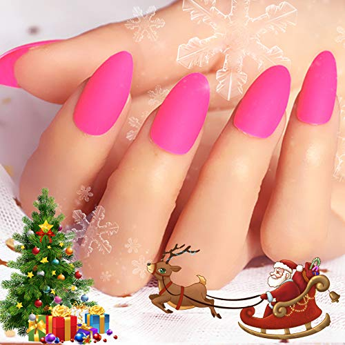 24 Pcs Christmas Fake Nails Matte Stiletto Long Almond Shape Nails Pink Full Cover Nail Art Medium FALSE Gel Nails Tips Decoration Sets for Women Teens Girls (Pink)