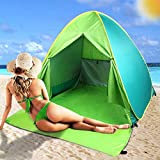 FBSPORT Beach Tent, UPF 50+ Automatic Pop Up Sun Shelter Umbrella, Portable Outdoor Sun Shade, Lightweight Windproof Cabana Canopy Beach Tents Fit 2-3 Person with Carry Bag