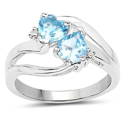 Colección de Anillo de Topacio Azul: Anillo Plata de Compromiso de Diamante con Topacio Azul, Tamaño de Anillos 16,5