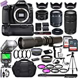 Canon EOS 80D DSLR Camera w/ 18-55mm Lens Bundle + Canon 75-300mm III Lens, Canon 50mm f/1.8 & 500mm...