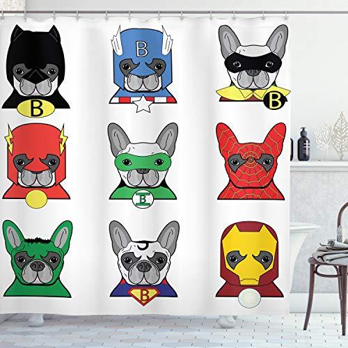 ABAKUHAUS superhéroe Cortina de Baño, Arte Dogo de la Historieta, Material Resistente al Agua Durable Estampa Digital, 175 x 200 cm, Multicolor