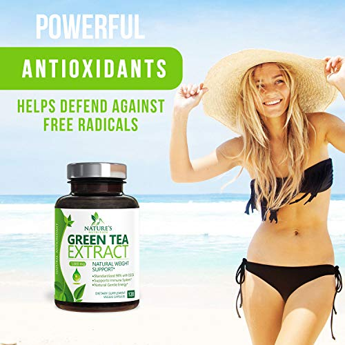 Green Tea Extract 98% Standardized EGCG Weight Loss 1000mg - Boost Metabolism for Healthy Heart - Antioxidants & Polyphenols - Gentle Caffeine, Fat Burner Pills, Made in USA - 120 Capsules 2