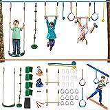 MATHOWAL Ninja Warrior pour Enfants, 2 x 50FT Slackline Kit-Ninja Warrior Training, Swing, Anneaux, Boule de Corde, Barre d'escalade, entraînement d'équilibre