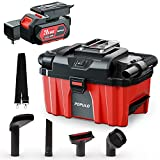 POPULO Wet Dry Vacuum Cleaner, Cordless Blower + Vac Powerful Suction Clean for Garage, Auto Detailing, Vehicle Dust Detachable Battery Hose Belt HEPA Filtration