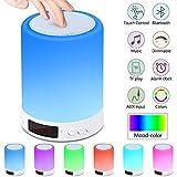 Lampe Haut-parleur Bluetooth,Lampe de Table de Chevet avec Capteur de...