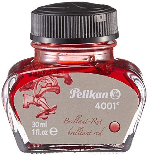 Pelikan 301036 Inchiostro Stilografico 4001, Flacone di Vetro da 30 ml, Colore Rosso