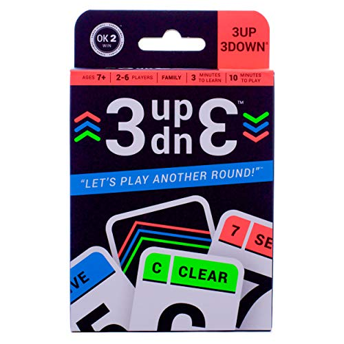 Ok2Win 3UP 3DOWN Card Game   Best Fun Family Games for Kids, Teens, Adults   2-6 Players/Deck  Up to 12 Players with 2 Decks  Make Road Trips, Camping, Beach Time, Summer Camp, Family Time Exciting