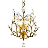 Garwarm 3-Light Crystal Chandeliers,Ceiling Lights,Crystal Pendant Lighting,Ceiling Light Fixtures for Living Room Bedroom Restaurant Porch(Gold)