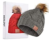 ASIILOVI Bluetooth Beanie, Bluetooth 5.0 Wireless Winter Warm Knit Fur Pom Cap Hats with Double Fleece Lined, Mic and HD Speakers, Gifts for Women Family Thanksgiving Christmas-Unisex (03-Gray)