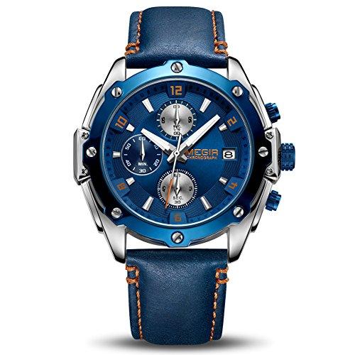 Orologio da Uomo Cronografo Luminoso da Uomo al Quarzo con Cinturino in Vera Pelle Blu Calendario...