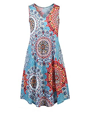 STYLE - summerdressesforwomen, plussizedresses forwomen, v-neck swing dress, bohodressforwomen, floral printed beach dress, loose casual tank dress with pocket. FEATURE - women's summer beach dresses with soft stretchy fabric, it's skin-frie...