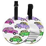Luggage Name Tags For Men Colorful Cartoon Cute Painting Car Printed Luggage Tags Bag Tag For Travel with Adjustable Black Strap For Bags & Baggage with Privacy Protection For Women Men