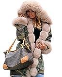Roiii Women Thicken Warm Winter Coat Hood Parka Overcoat Long Jacket Outwear,Amry Green,Small