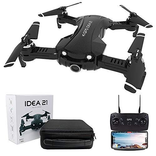 le-idea 21 - Drone GPS con Telecamera 4k, Pieghevole Mini Drone FPV WiFi 5GHz, Fotocamera 120 °FOV, Modalità di protezione Indoor, Borsetta