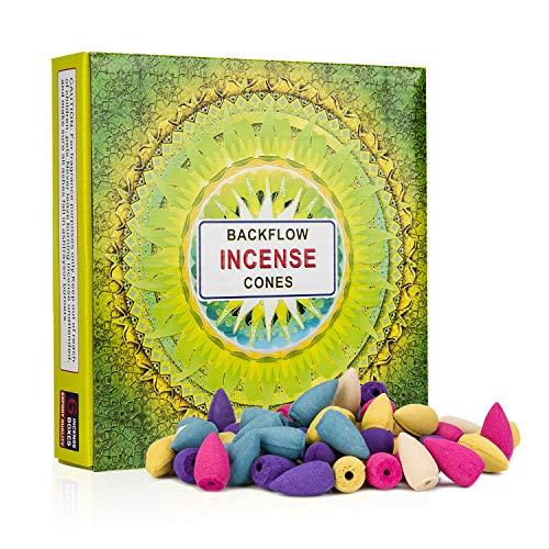 Backflow Incense Cones 120 Pcs 6 Mixed Natural Scents - Sandalwood-Ocean-Lemon-Rose-Lavender-Jasmine for Relaxation, Purification, Meditation, Yoga Gift
