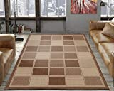 Silk Road Concepts Collection Contemporary Rugs, 5'3' x 7'3', Brown Boxes