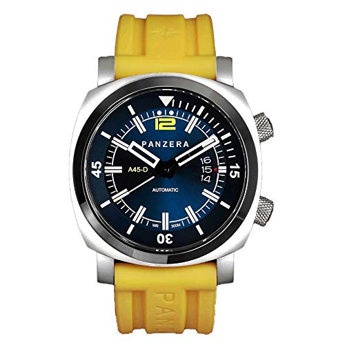 Panzera Aquamarine Pro Diver Infinity Blue Submerge Automatik Stahl Gelb Datum Silikon Saphir Uhr Herren