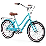 sixthreezero EVRYjourney Women's 3-Speed Step-Through Hybrid Cruiser Bicycle, 24' Wheels and 14' Frame, Teal with Brown Seat and Grips