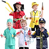 TOPTIE 5 Sets Halloween Role Play Costume for Kids, Doctor Surgeon Policeman Fire Chief Worker