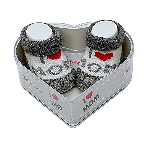 Neonato Bambino Socks 0-4 Mesi | Spesse Impugnature In Cotone E Antiscivolo | Set Regalo Per Neonato Nuovo Perfetto Per Baby Showers | (Grigio - I love you Mom & Mom)